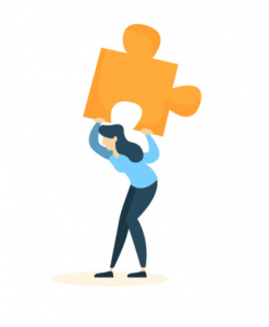 Illustrated woman holding puzzle piece