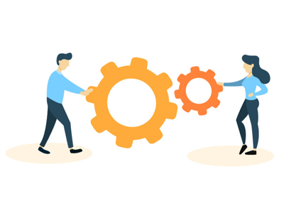 illustration of man and woman, showing them working together with two mechanical gears